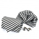 Fashion Black/White Stripe Men's Tie + Handkerchief + Cuff Links - White + Black