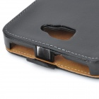 Protective Genuine Leather Flip Case Cover and Stand for Samsung Galaxy Note / i9220 / N7000 - Black