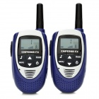 "Portable 0.5W 1.1"" LCD 3KM Walkie Talkie - Blue + Silver (3 x AAA)"