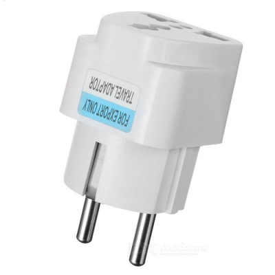 Universal European AC Plug Travel Adapter - White