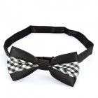 Decoration Checked Bow Tie for Men - Black + White