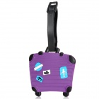 Cute Suitcase Shape Secure Travel Suitcase ID Luggage Tag - Purple