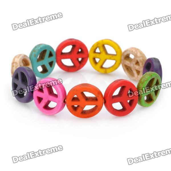 Peace Sign Style Anti-war Spacer Beads Turquoise Bracelet - Multi-color peace dove tree braided bracelet