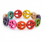 Peace Sign Style Anti-war Spacer Beads Turquoise Bracelet - Multi-color