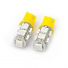T10 3W 90~100LM 9-LED Yellow Light Bulbs for Car (12V / Pair)