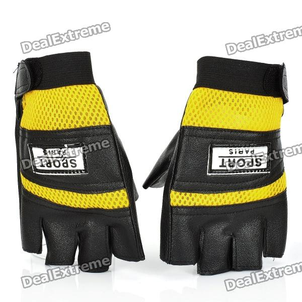 Sports French Cycling Half-finger Gloves - Yellow + Black (Pair/Size-M) uhlsport eliminator soft roll finger goalkeeper gloves