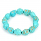 Fashion Turquoise StyleSkull Beads Stretchy Bracelet - Blue