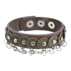 Punk Style Vintage Coin Studded Anti-Allergic Bracelet - Brown