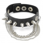 Cool Punk Style Rivet Studded Cowhide Bracelet - Black + Silver