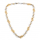 Trendy Stainless Steel Non-Allergy Necklace	- Silver + Golden