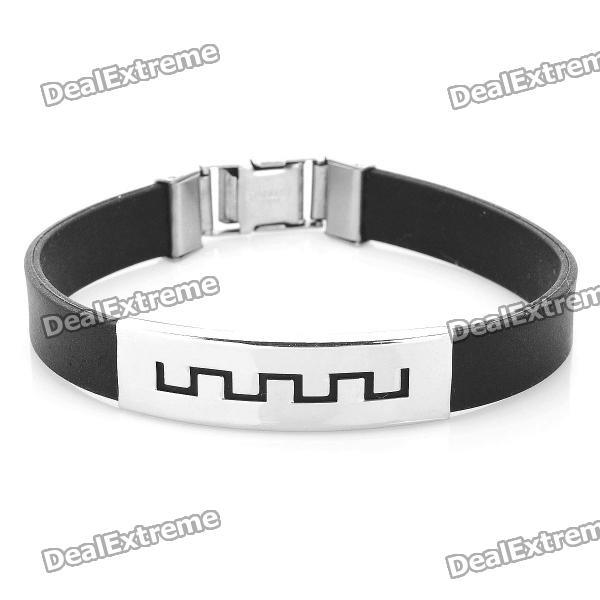 Decompression Anion Silicone Stainless Steel Non-Allergy Men's Bracelet	 - Black + Silver decompression anion silicone non allergy bracelet silver black purple