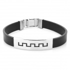 Decompression Anion Silicone Stainless Steel Non-Allergy Men's Bracelet	 - Black + Silver