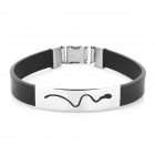Decompression Anion Silica Gel Non-Allergy Men's Bracelet - Black + Silver