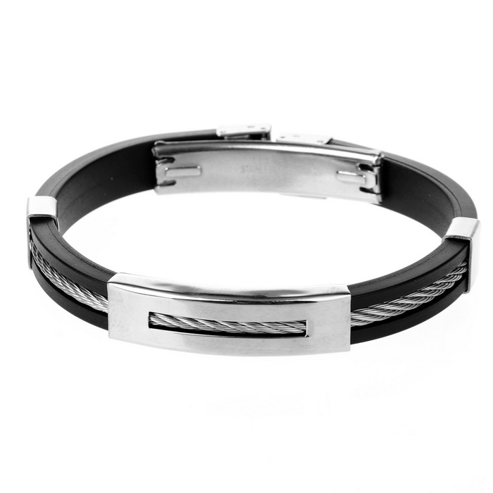 Decompression Anion Silicone Non-Allergy Bracelet - Black + Silver decompression anion pu leather non allergy bracelet silver black coppery