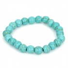 Fashion Imitation Turquoise Beads Stretchy Bracelet - Blue