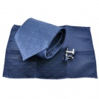 Fashion Square Swirl Pattern Men's Tie + Handkerchief + Cuff Links - Blue