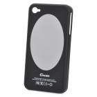 Protective Plastic Case w/ Oval Aluminum Mirror for Iphone 4 / 4S - Black
