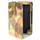 Map Pattern Protective Case for Kindle 4 - Brown