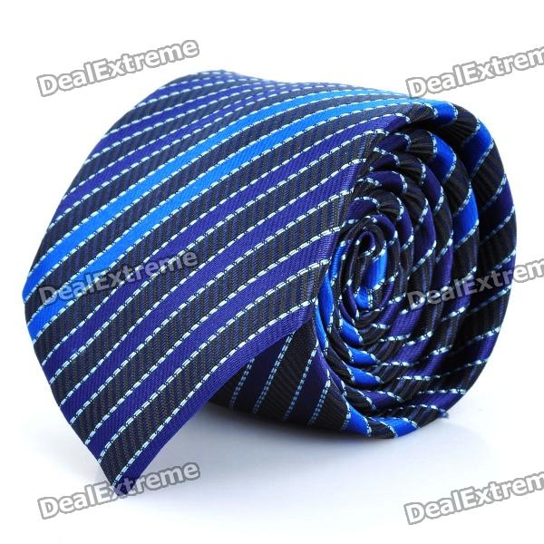 Fashion Blue/Purple Stripe Men's Decoration Neck Tie - Blue + Purple fashion blue purple stripe men s decoration neck tie blue purple