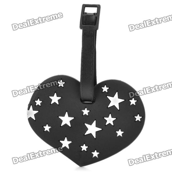 Sweet Heart Style White Star Pattern Secure Travel Suitcase ID Luggage Tag - Black + White