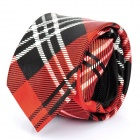 Fashion Red Lattice Men's Decoration Neck Tie - Red + Black + White