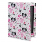 Cute Lover Heart Pattern Protective PU Leather Case for iPad 2 / The New iPad - Pink