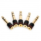 6.35mm Male to 3.5mm Female Audio Jack Adapters - Golden + Black (5-Piece Pack)