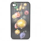 Vivid 3D Christmas Ornaments Pattern Protective Plastic Case for Iphone 4 / 4S - Golden + Black