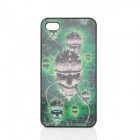 Vivid 3D Skull Pattern Protective Plastic Case for Iphone 4 / 4S - Green + Black