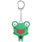 Cute Frog Style Two White LED Flashlight Keychain w/ Sound Effects - Green (3 x LR1131)