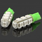 T10 4W 100LM 13-LED Green Light Bulbs for Car (12V / Pair)
