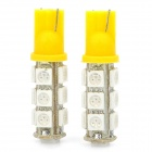 T10 4W 100LM 13-LED Yellow Light Bulbs for Car (12V / Pair)