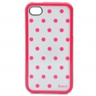 Stylish Dot Pattern Protective Plastic Case for iPhone 4 / 4S - White + Deep Pink