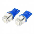 T10 5050 5-SMD Blue 1W Car Light Bulb (DC 12V/Pair)