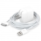 10W USB Power Adapter / Charger with USB Data + Charging Cable for iPad - White