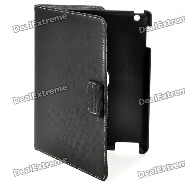 360 Degree Rotation Protective PU Leather Case with Stylus Pen for Ipad 2 / The New Ipad - Black protective 360 degree rotation holder pu leather case for samsung p6800 p6810 pink