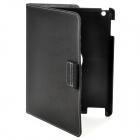 360 Degree Rotation Protective PU Leather Case with Stylus Pen for Ipad 2 / The New Ipad - Black