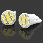 T10 1W 10lm 6000K 8-LED White Light Bulbs für PKW (12V / Paar)