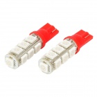 T10 5050 13-SMD Red 4W 100lm Car LED Light Bulb (DC 12V/Pair)