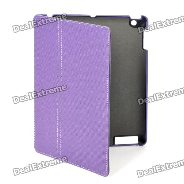360 Degree Rotation Protective PU Leather Case with Stylus Pen for Ipad 2 / The New Ipad - Purple protective 360 degree rotation holder pu leather case for samsung p6800 p6810 pink