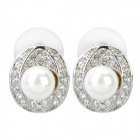 Elegant Pearl Style Rhinestone Earrings (Pair)