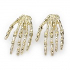 Cool Skeleton Hand Earrings - Golden (Pair)