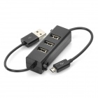 3-Port USB 2.0 HUB with Charging/Data Cable for Mobile Phone - Black
