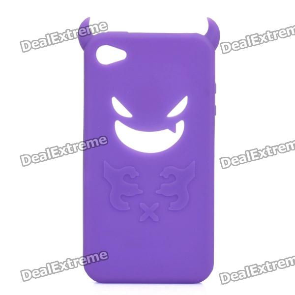 Devil Style Protective Silicone Back Case for Iphone 4 / 4S - Purple cool skull head style protective soft silicone back case for iphone 4 4s pink