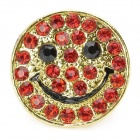 Smile Face Imitation Diamond Open Adjustable Ring - Red + Golden