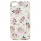 Stylish Rose Pattern Protective Back Case for iPhone 4 / 4S - White + Pink + Green