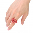 Fashion Red Lip Style Zinc Alloy Rhinestone Finger Ring