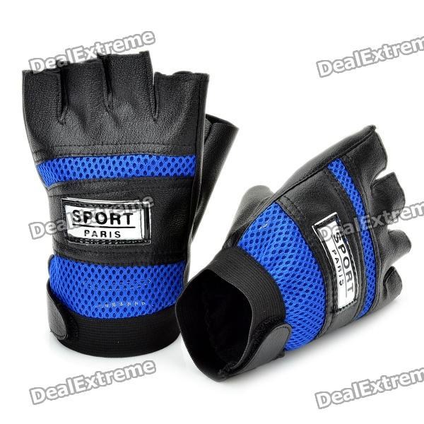 Sports Half-Finger Gloves - Blue + Black (Size L / Pair) universal nylon cell phone holster blue black size l