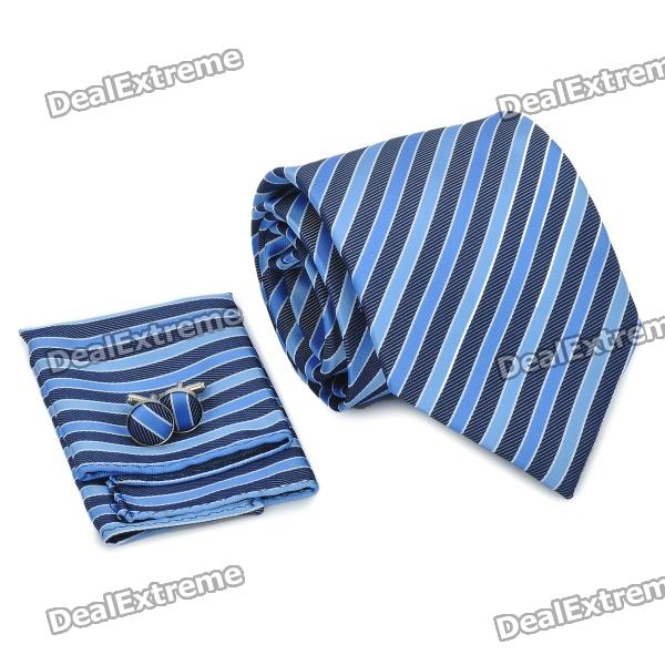 Fashion Men's Necktie + Handkerchief + Cuff Links - Blue + Black