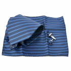 Fashion Oblique Stripe Tie Necktie + Pocket Square Handkerchief + Cufflinks Set - Blue + Black